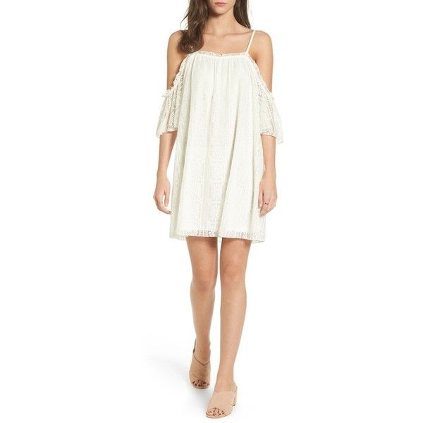 Women's Love, Fire Lace Cold-Shoulder Shift Dress ($27) ❤ liked on Polyvore featuring dresses, ivory lace, white cocktail dress, cut-out shoulder dresses, lace cocktail dresses, white cold shoulder dress and lace dress