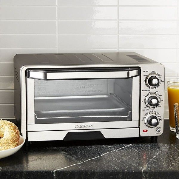 Crate & Barrel Cuisinart ® Toaster Oven-Broiler (2,645 MXN) ❤ liked on Polyvore featuring home, kitchen & dining, small appliances, cuisinart toaster oven, compact toaster oven, toast rack, black toaster oven and cuisinart