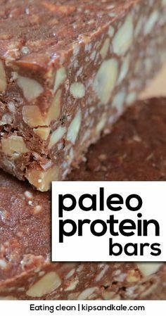 Delicious, easy, no-bake protein bars. Sugar-free, grain-free goodness. http://kipsandkale.com/no-bake-paleo-chocolate-protein-bars/