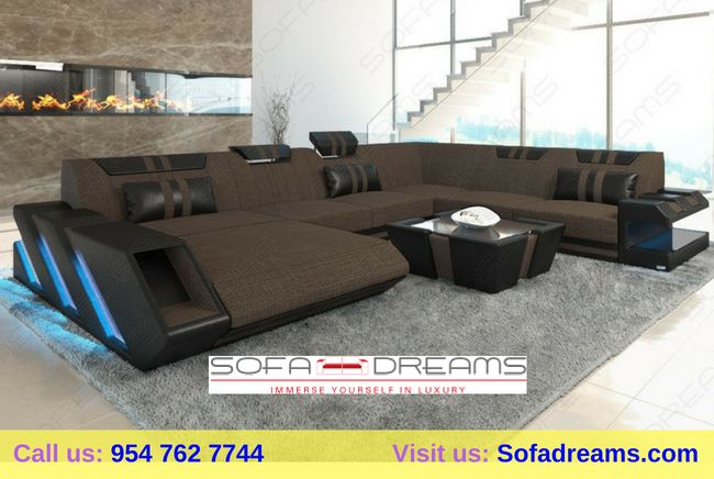 Leather And Fabric Corner Sofas