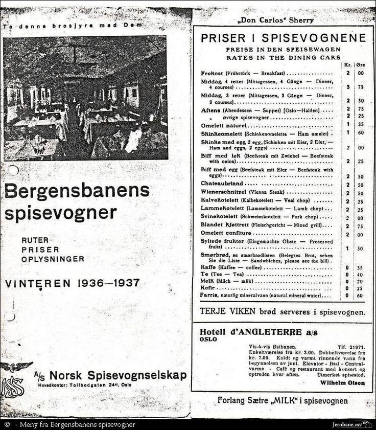 Meny fra spisevognen på Bergensbane 1936/37