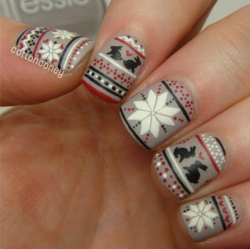 Hey now, I spy BUNNIES on these sweater designs! | 15+ Ugly Christmas Sweater Nail Art Designs, Ideas & Stickers 2015 | Xmas Nails