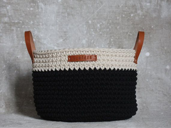 Handmade Crochet  Cotton Basket in cream/ black by regreenyourlife