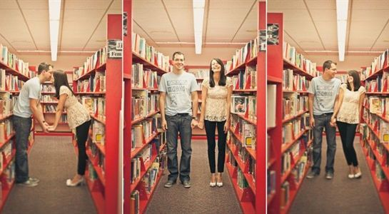 Jessica & Rob's High School Sweetheart Library Engagement Session