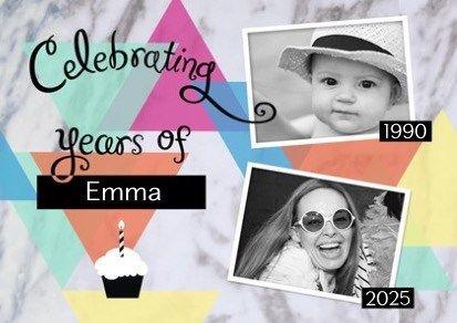 Van lieve baby naar volwassenen. Voeg een foto van toen en een foto van nu toe en nodig je vrienden uit om dit met jou te vieren. #Hallmark #HallmarkNL #uitnodiging #feest