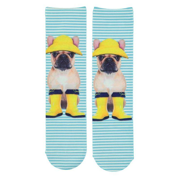 Grappige sokjes met digitale fotoprint van ernstigkijkende boxer met geel regenhoedje en dito laarsjes. Van het hippe merk sOxi, exclusief bij Veritas te koop. Kleurrijke en modieuze items aan een gunstige prijs. - Voorkant: hond - Achterkant: wit-turquoise gestreept