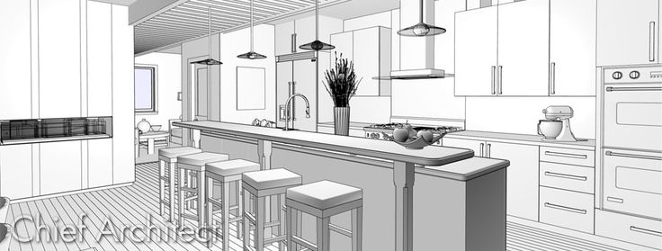 Technical Drawing Style 3d Kitchen Rendering Design Tips