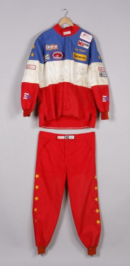 2007 2-piece racing suit worn by monster truck driver Dan Patrick, in red, white, and blue with gold stars down the shoulders and legs, the ...