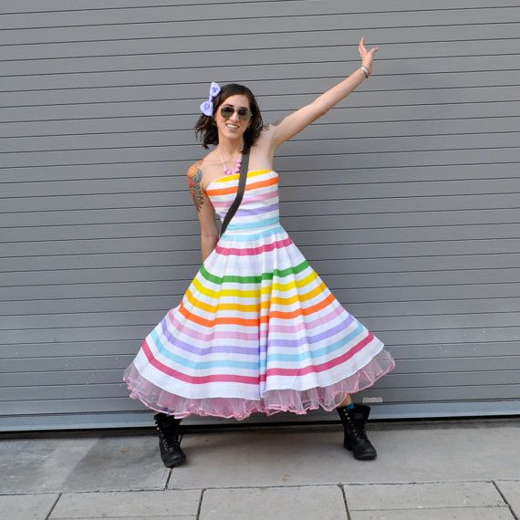 Rainbow Stripe Strapless Quot Prism Quot Dress
