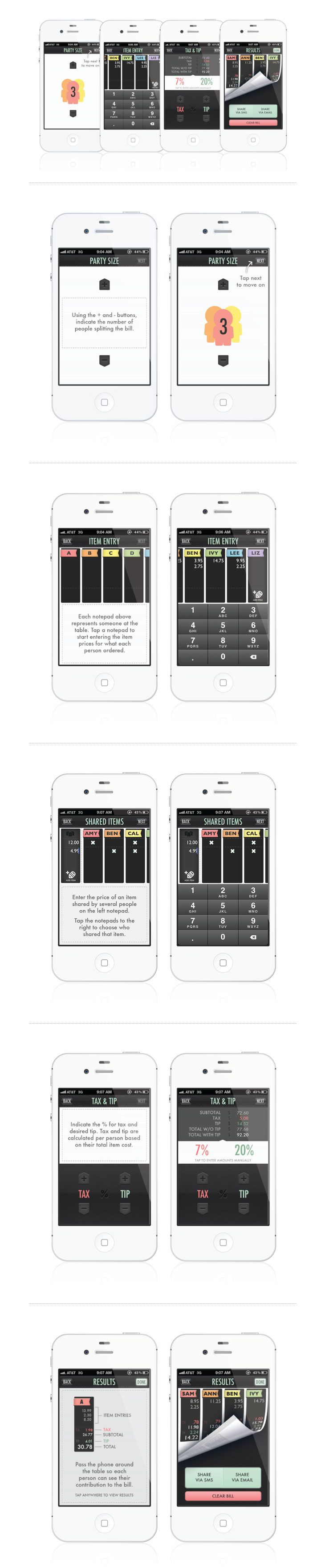 Collection of color palettes photoshop for ui designs web3canvas - Billr Iphone App Ui Design