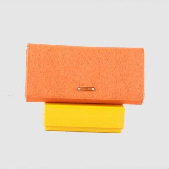 Fendi Orange Cross Veins Leather Zipper Wallet VD475208