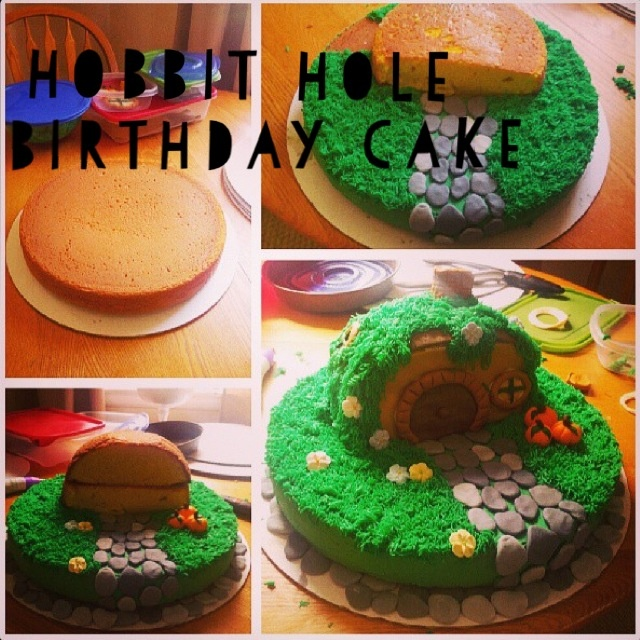 Awesome hobbit cake made by a friend!! Gandolf and hobbit mini figs added later.