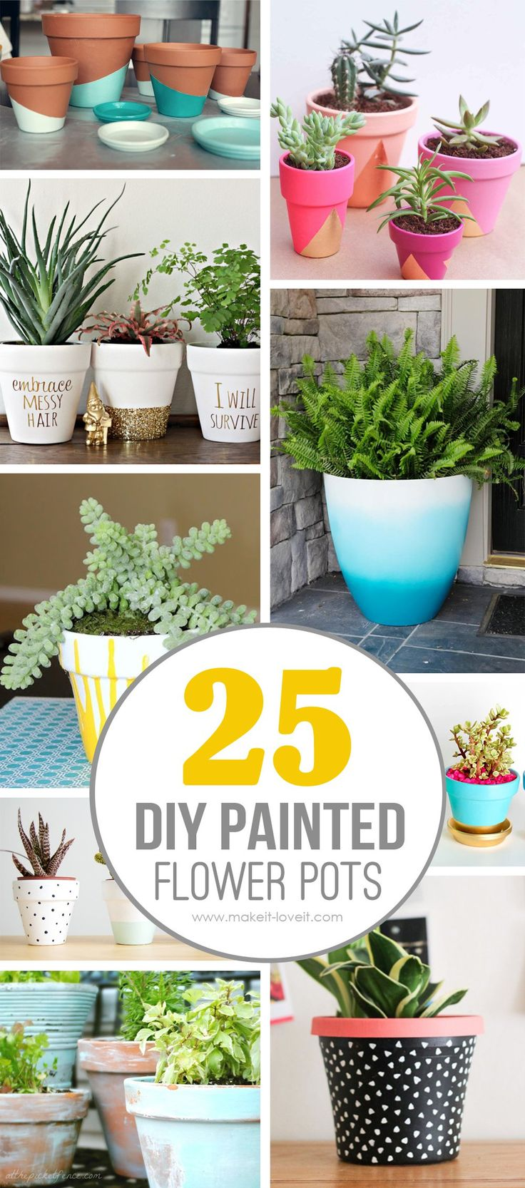 25 DIY Painted Flower Pot Ideas...you'll LOVE. Such a fun way to brighten up your home and outside curb appeal!