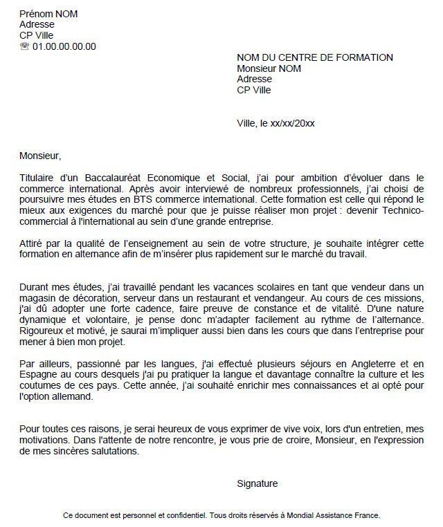 lettre formelle