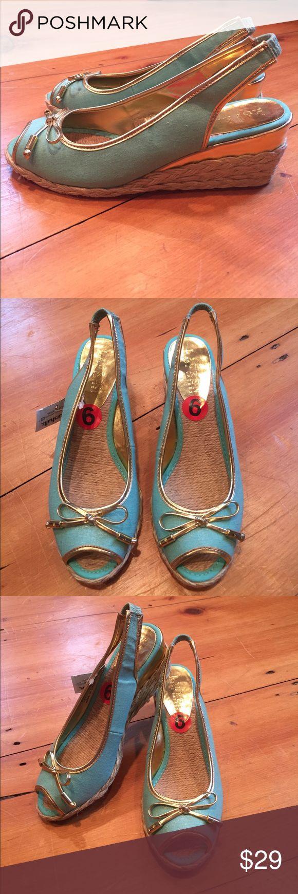 Teal Wedges New Lauren Ralph Lauren aquamarine and gold wedges, size 6 Lauren Ralph Lauren Shoes Wedges