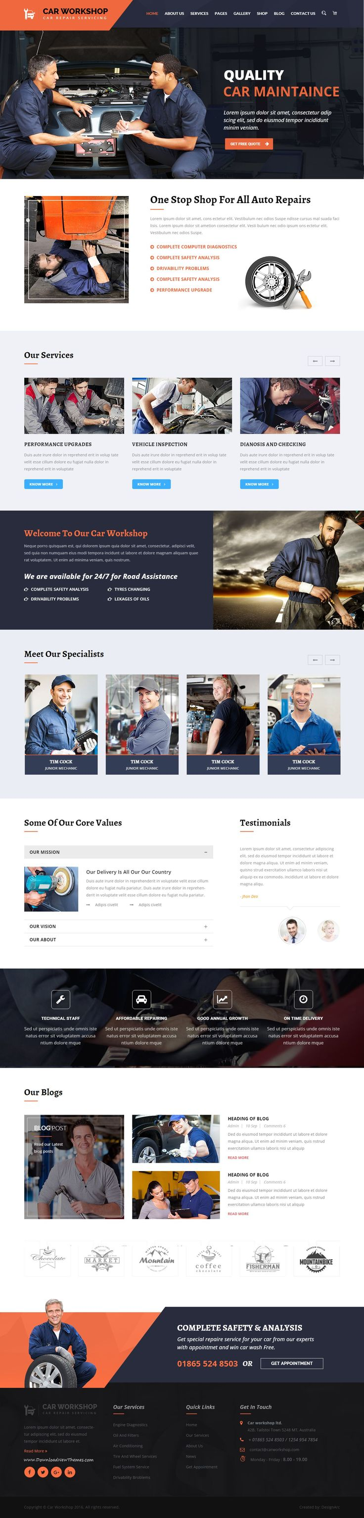 Car Workshop – Car Workshop #HTML Template is designed specially for Workshop, Auto Mechanic, #Car Repair Shops, Car Wash, Garages, Automobile Mechanical, Mechanic Workshops, Auto Painting, Auto Centers and all type of Auto Related Services. This #template comes with necessary features for your online presence like gallery, blog, testimonial, team and appointment page etc. Car Workshop can be a great choice for your online presence. #webdesign