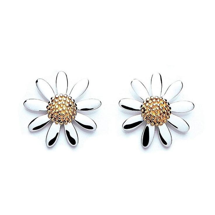 Daisy Sterling Silver Stud Earrings at aquaruby.com