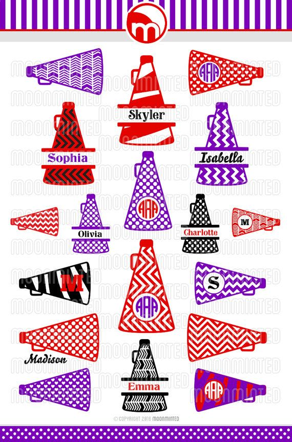 Cheer Megaphone SVG Cut Files  Monogram Frames for by MoonMinted