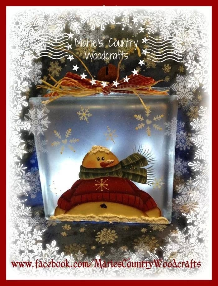 Snowman lighted glass block that I painted using a  slight variation of a Sandy Holman-Sackett design. Marie's Country Woodcrafts
