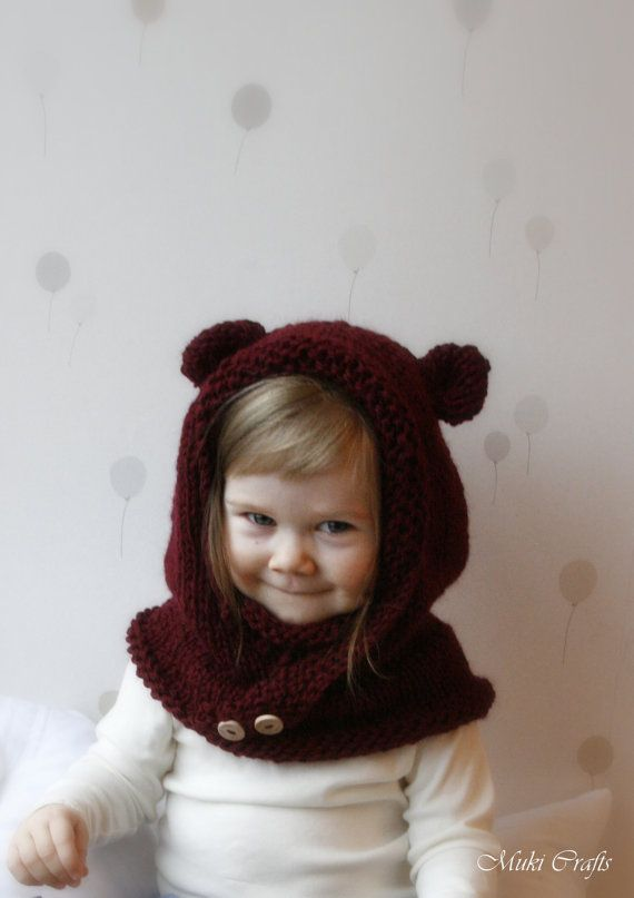 KNITTING PATTERN hooded cowl Rowan with round ears by MukiCrafts
