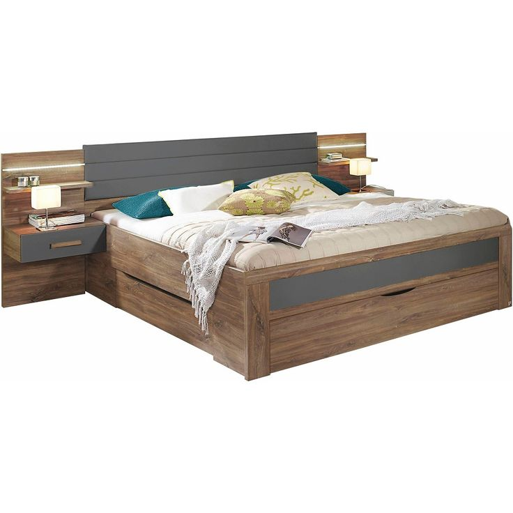 Lit 2 personnes Rauch + 3 tiroirs, tête de lit avec tablettes et chevets intégrés en 2019   Lit ...