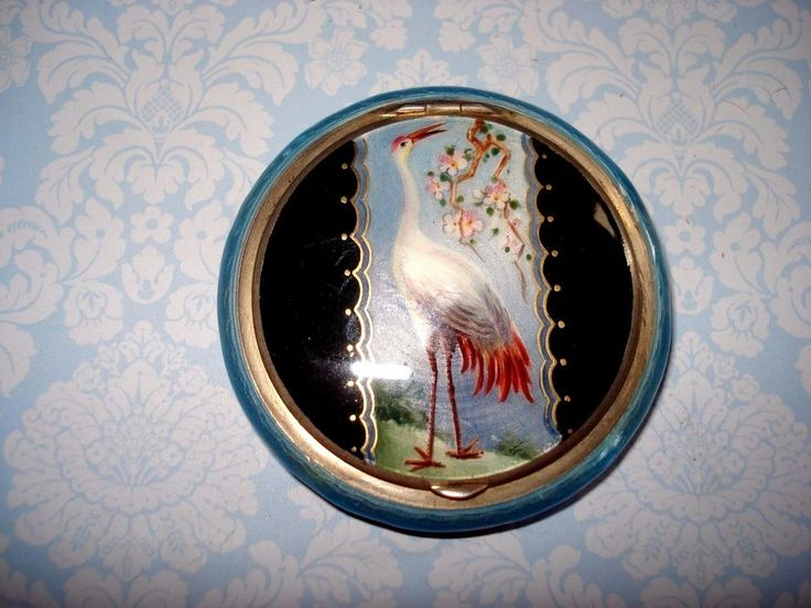ANTIQUE STERLING SILVER GUILLOCHE ENAMEL COMPACT WITH GORGEOUS EXOTIC BIRD,C1920