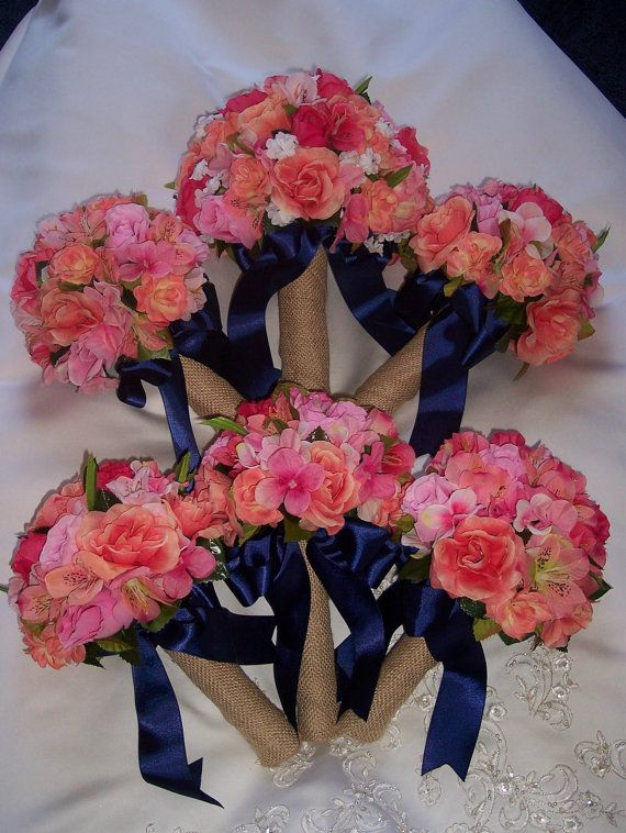 BURLAP wedding  bouquets CORAL & NAVY peach by WhootySnootyDesigns, $300.00