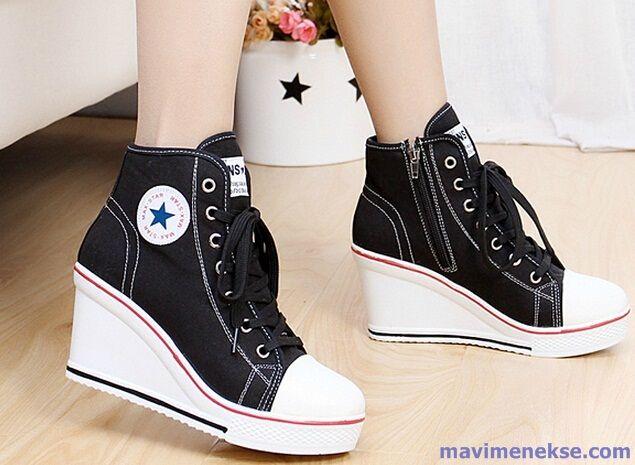 siyah Dolgu Topuk Spor Ayakkabı Modelleri