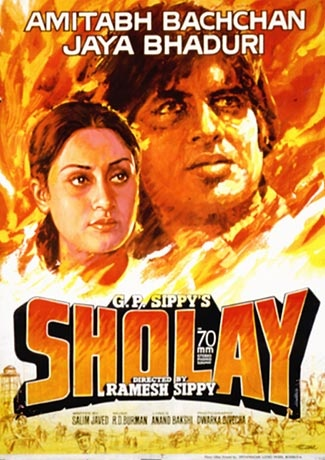 Sholay (1975), Amitabh Bachchan, Classic, Indian, Hand Painted, Bollywood, Hindi, Movies, Posters