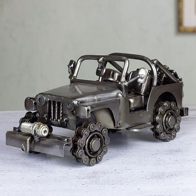 Artisan Crafted 4 x 4 Metal Recycled Auto Parts Sculpture, 'Rustic Off-Road Jeep'
