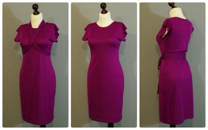 Платье цвета фуксии, с поясом   Платье-терапия от Юлии