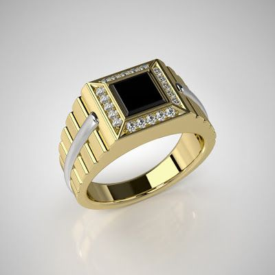 GOLD Art. 3D STORE: Men's ring with black onyx