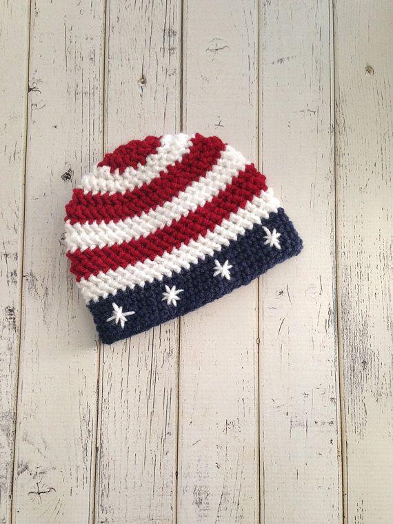 Crochet American Flag Baby Hat Patriotic Hat by NewYarnCreations
