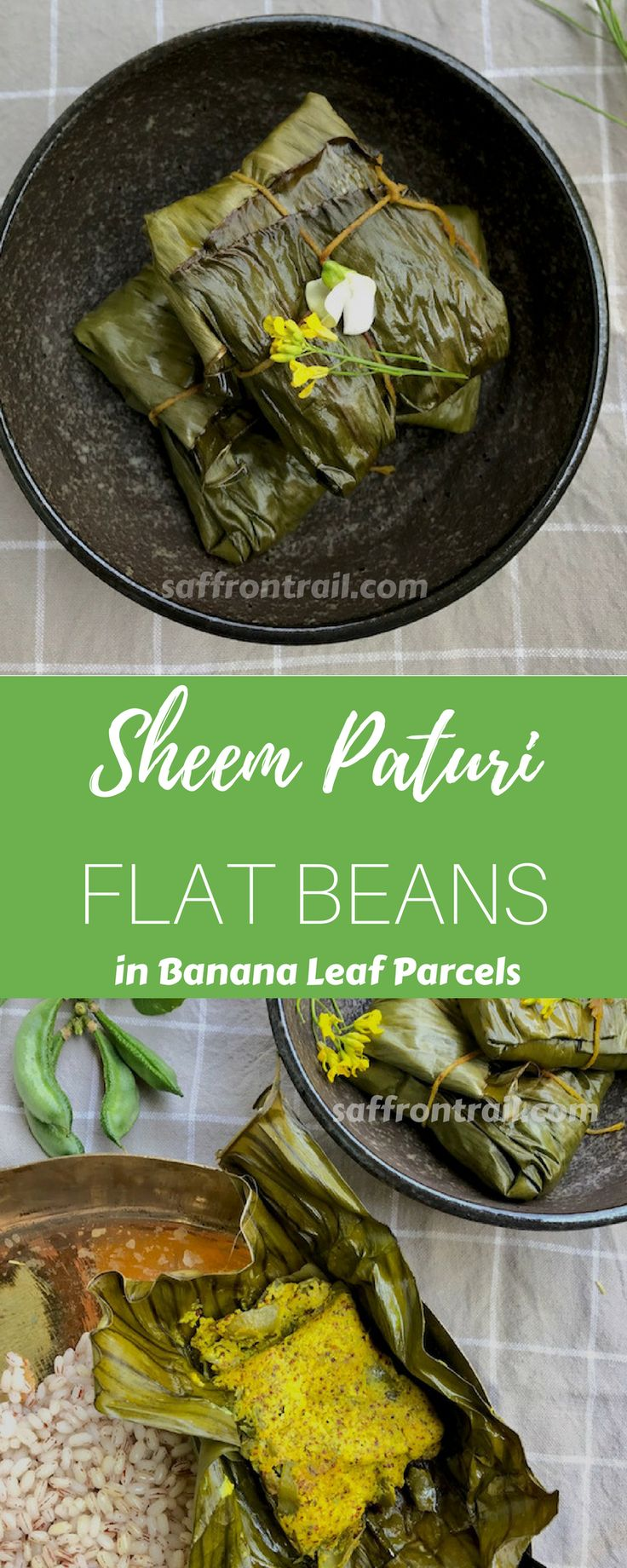 Sheem Paturi is an exotic vegetarian dish from the kitchens of Bengal, in which Sem or flat beans, smothered in a freshly ground mustard and chill paste, is steam cooked in banana leaf parcels. Sheem Paturi and steamed rice make a simple meal, exploding with flavour.