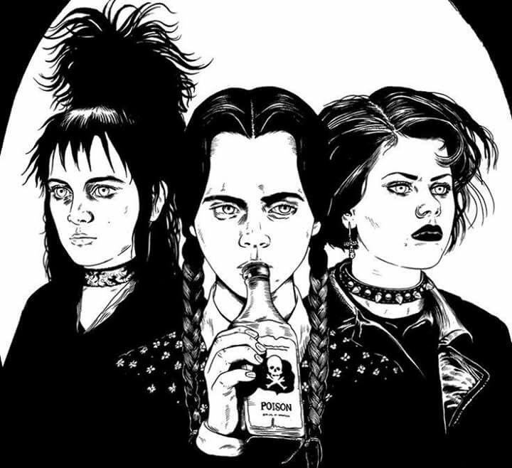 gothic familia adams jovenes y brujas bitelchus miercoles nancy