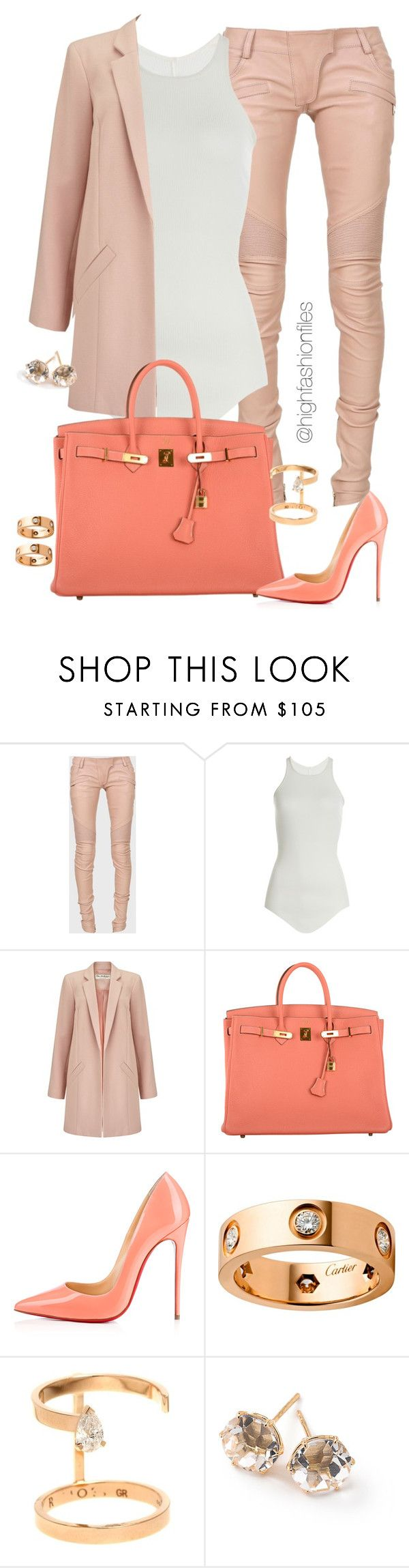 """""""Peach & Coral"""" by highfashionfiles ❤ liked on Polyvore featuring Balmain, Rick Owens, Miss Selfridge, Hermès, Christian Louboutin, Cartier, Repossi and Ippolita"""