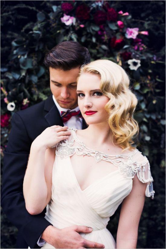 glamorous bride and groom