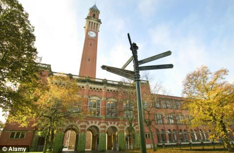 Birmingham University, pictured, is one of the Russell Group universities that is still showing vacancies for degree courses on the Ucas website