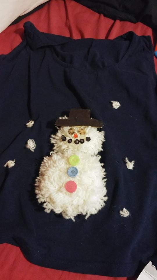 T shirt I decorated for Christmas jumper day because I don't wear jumpers!