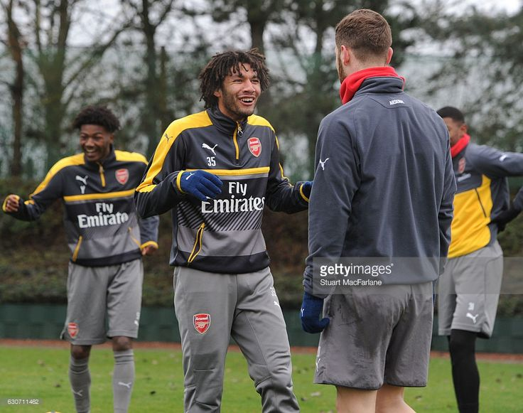 (L-R) Mohamed Elneny and Shkodran Mustafi of Arsenal during a training session at London Colney on December 31, 2016 in St Albans, England. (Photo by Stuart MacFarlane/Arsenal FC via Getty Images)