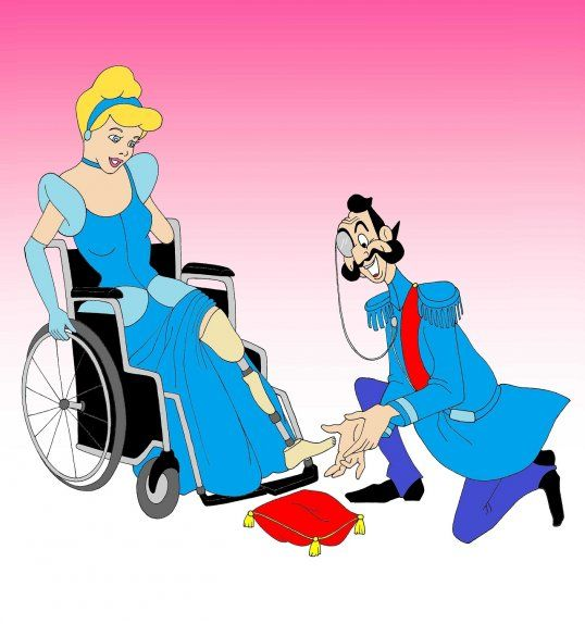 Disabled Disney Princess Cinderella prosthesis shoes Disabled Disability Equal Rights Wellchair Health Art Campaign ADV Cartoon Painting Portrait Illustration Sketch Humor Chic by aleXsandro Palombo 1