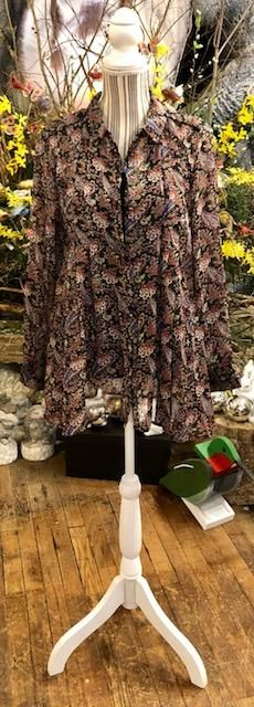 Clothing - Paisley print tunic top with button-down pleated neckline, gathered at waist....side pockets