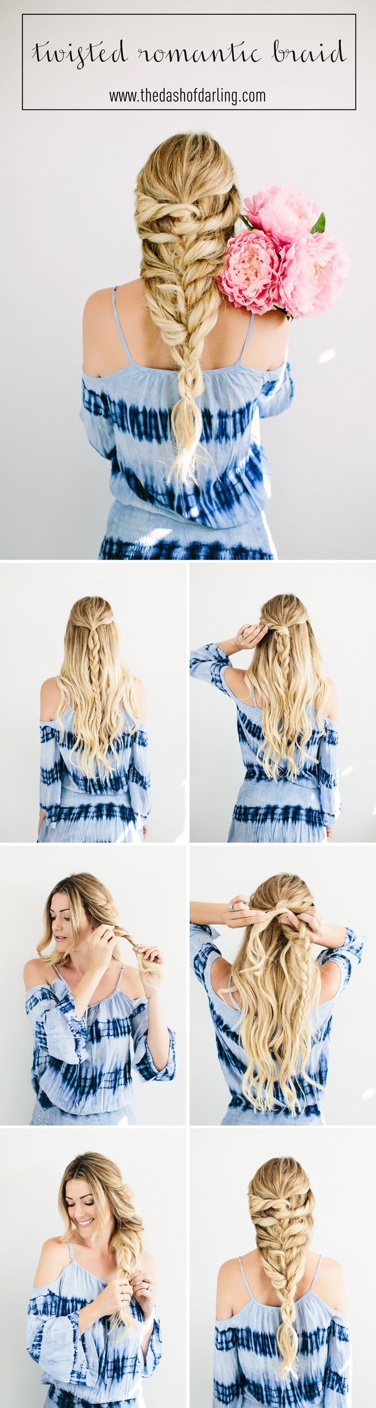 An easy twisted romantic braid // TUTORIAL by @caitlinclairexo.