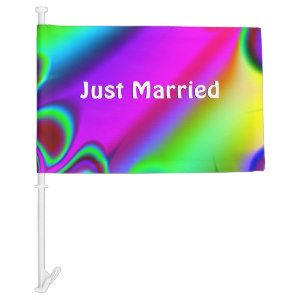 Just Married Car Flags   Just Married Blue Car Flag Just Married Daffodil Car Flag Just Married Get Away Car Flag Just Married Pink Car Flag Just Married Boat Car Flag Just Married Antique Gol…