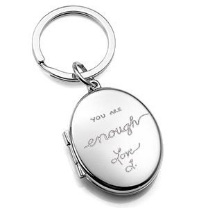This engraved handwriting key chain locket is a one-of-a-kind gift.  Thoughtful Impressions carries a unique collection of gifts and jewelry to have engraved with your actual handwriting.  Send them your message and they'll permanently etch it onto the gift item of your choosing!  #keychain #engraving #locket #customized #handwriting #love #loveart #lovegifts #romance #romantic #gifts #message #special #unique #uniquegifts #personalized
