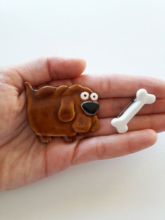 Two ceramic brooches, dog and bone brooches, Dog shaped Brooch, ceramic handmade jewellery, handmade dog, sweet brown dog brooch from Lamabo