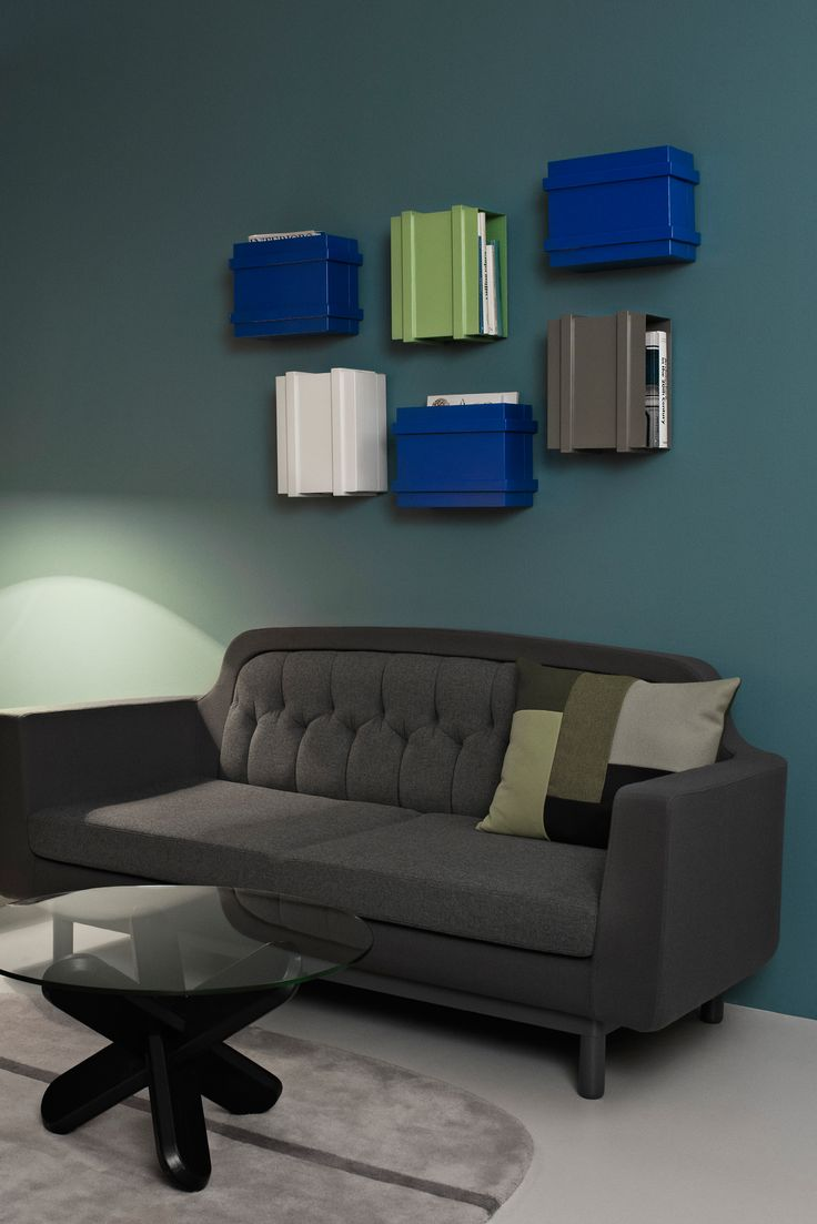 Smart multifunctional storage unit/bookcase from Normann Copenhagen, which can be hung on the wall or stacked on the floor in several different ways. The Color Box is both colorful and functional storage. The shape of the Color Box makes it very useful for storing books, magazines, decorations, etc.
