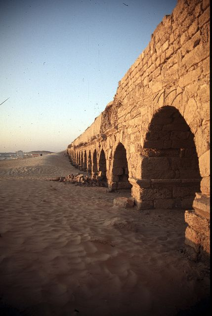 Caesarea, Aqueduct (III) A view of the Roman aqueduct that fed the ancient port…