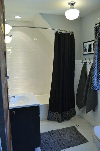 Small Bathroom Curved Shower Rod : Best images about curved shower curtain rods on