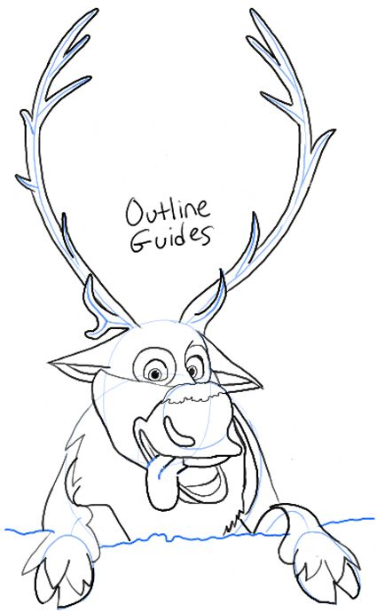 step step09 sven from frozen how to draw sven the reindeer from frozen step by step - Sven Reindeer Coloring Pages